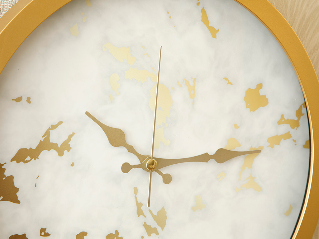 Fancy Marble Wall Clock 30 cm White-Gold
