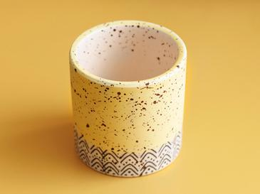 Spotty Dolomite Flowerpot 7x7 Cm Yellow