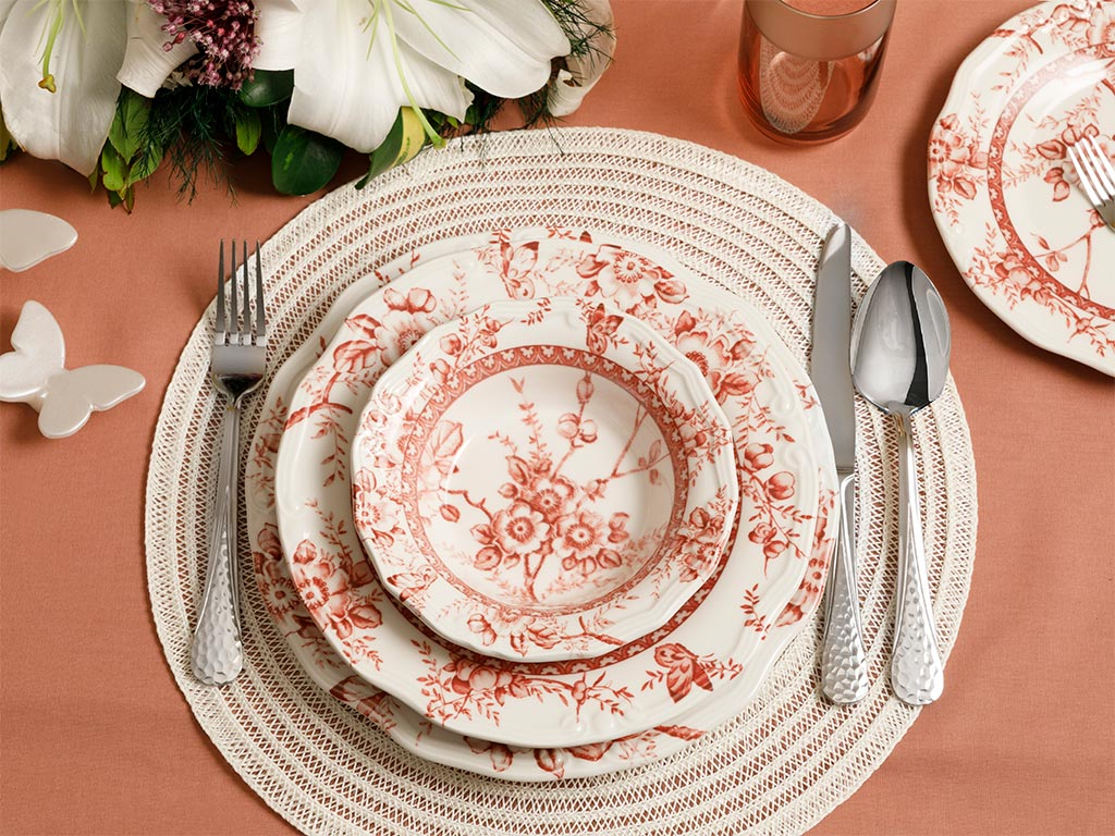 Roseanne Dinner Set 24 Piece 17Cm-24Cm-26Cm-20Cm Red