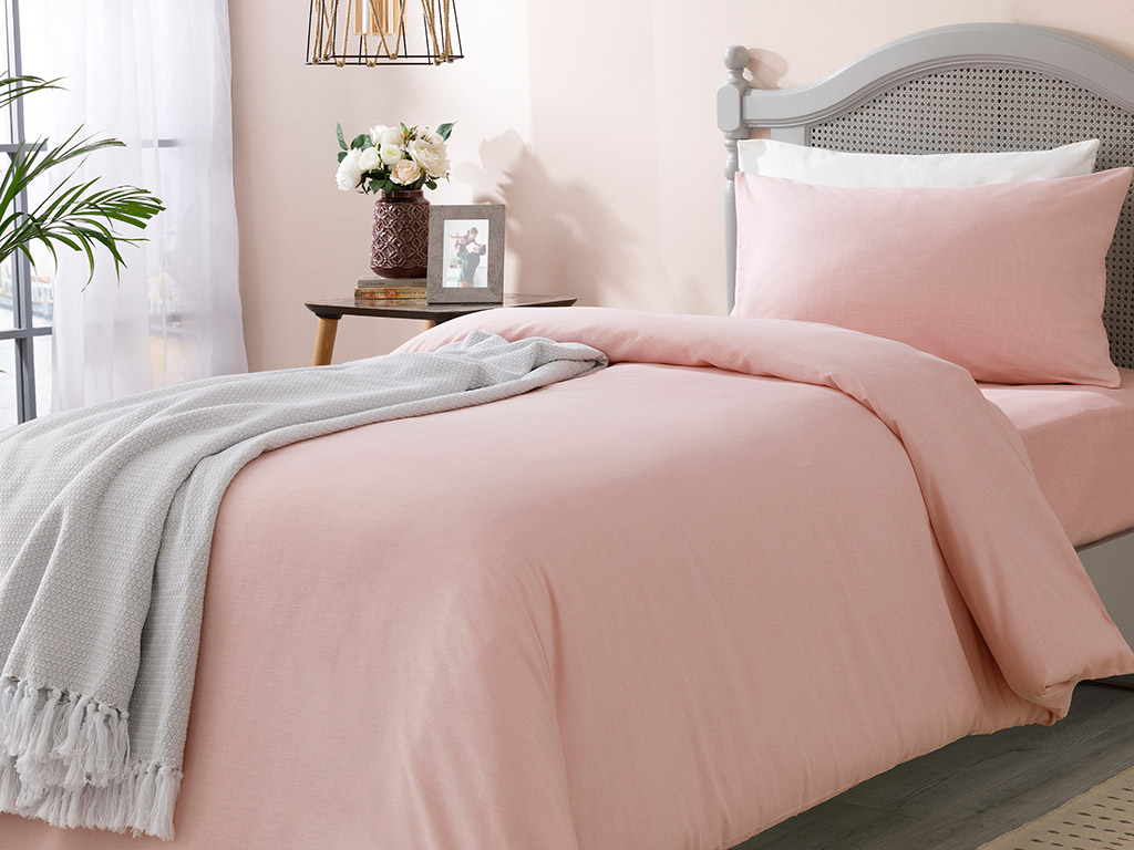 Flecked Cotton/Viscon Duvet Cover Full Set Single Size 160x220 Cm Pink