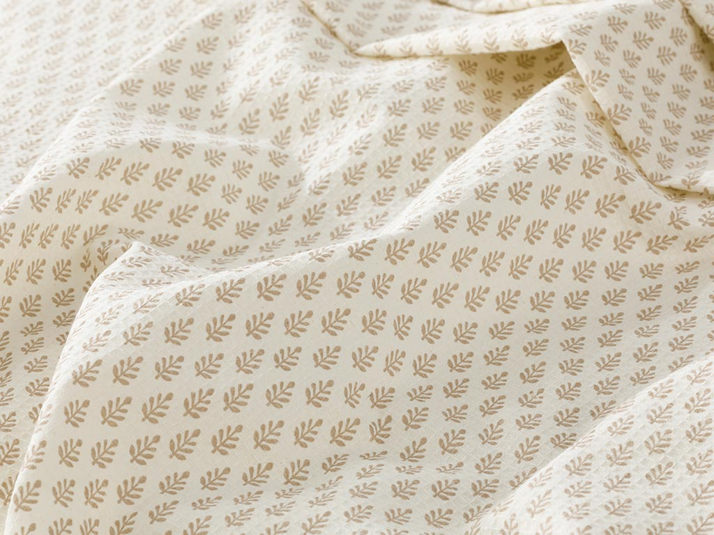 Pure Leaves Summer Blanket Single Size 150x220 Cm Beige