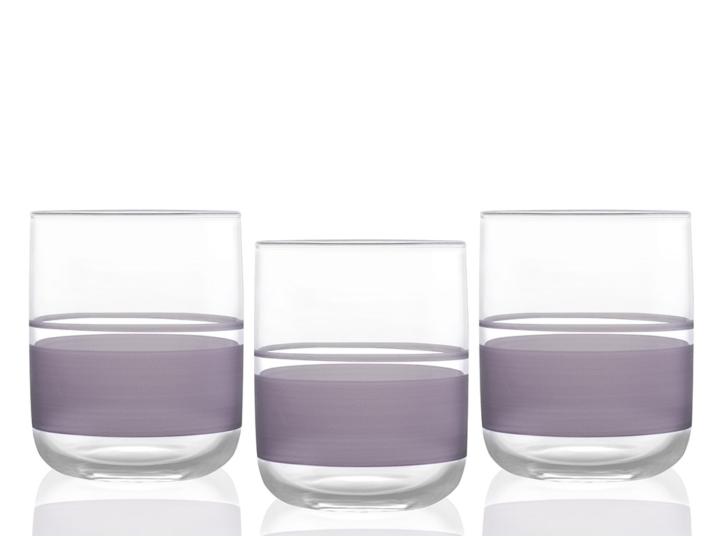 Band Juice Glass 3 Piece 270 Ml Purple