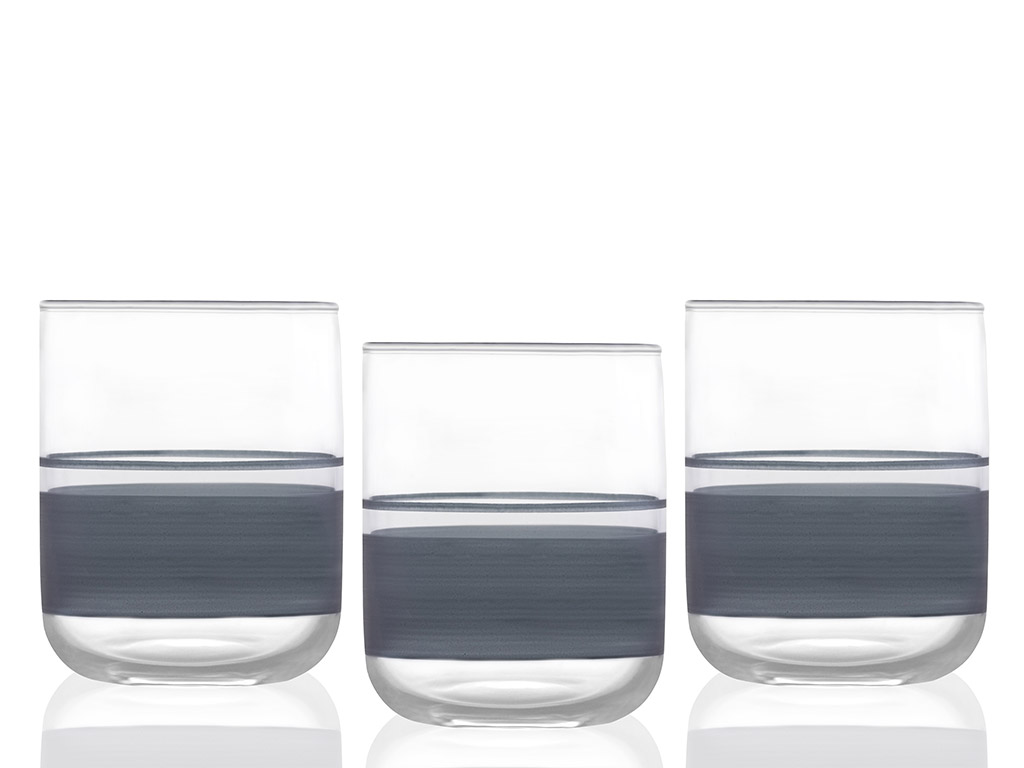 Band Juice Glass 3 Piece 270 Ml Gray