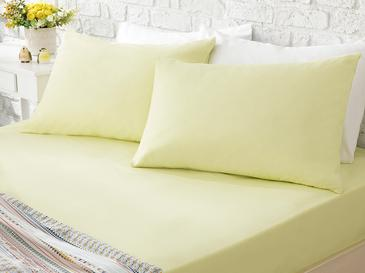 Plain Fitted Bed Sheet Set Double Size 160x200 Cm Yellow