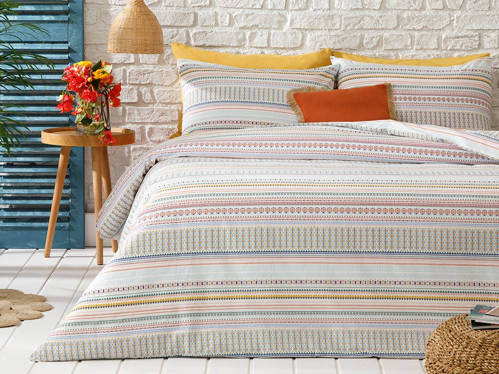 Ethnic Stripe Cotton Duvet Cover Full Set 160x220 Cm Damson