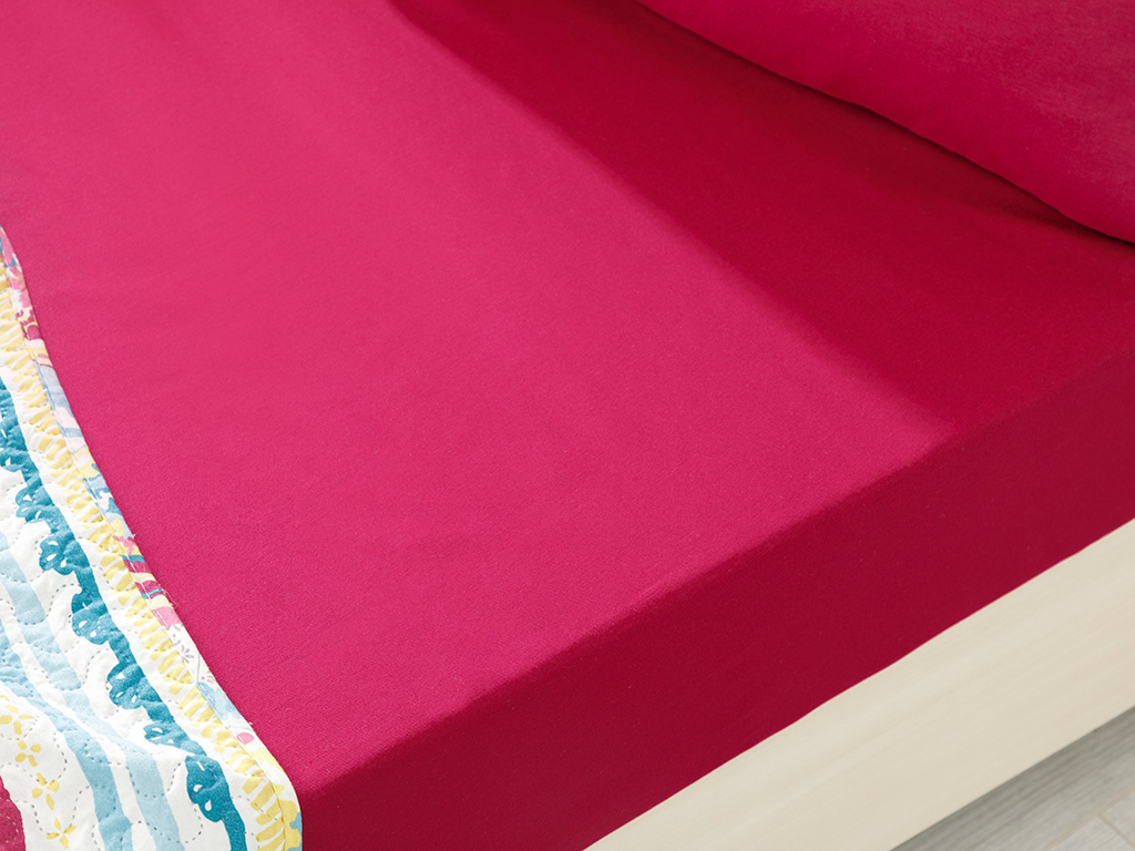Plain Cotton Fitted Bed Sheet Set Single Size 100x200 Cm Dark Fuchsia