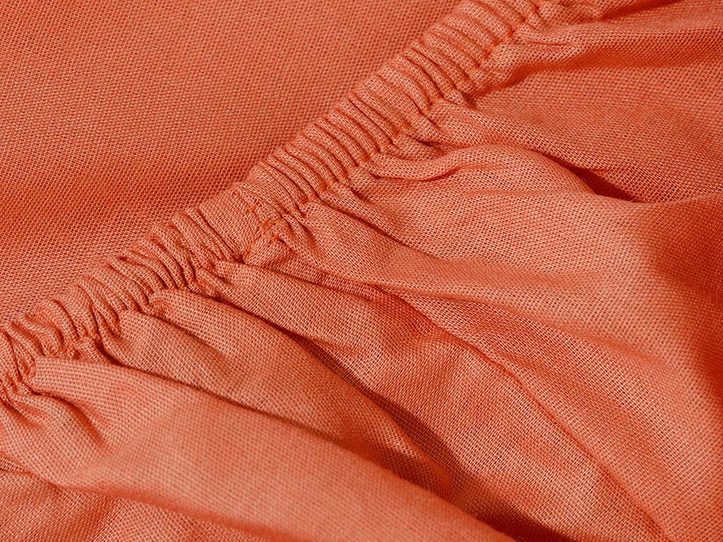 Plain Cotton Duvet Cover Full Set Single Size 160x220 Cm Orange-Stone