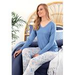 Paisley Charm Women's Pajamas Set S Blue