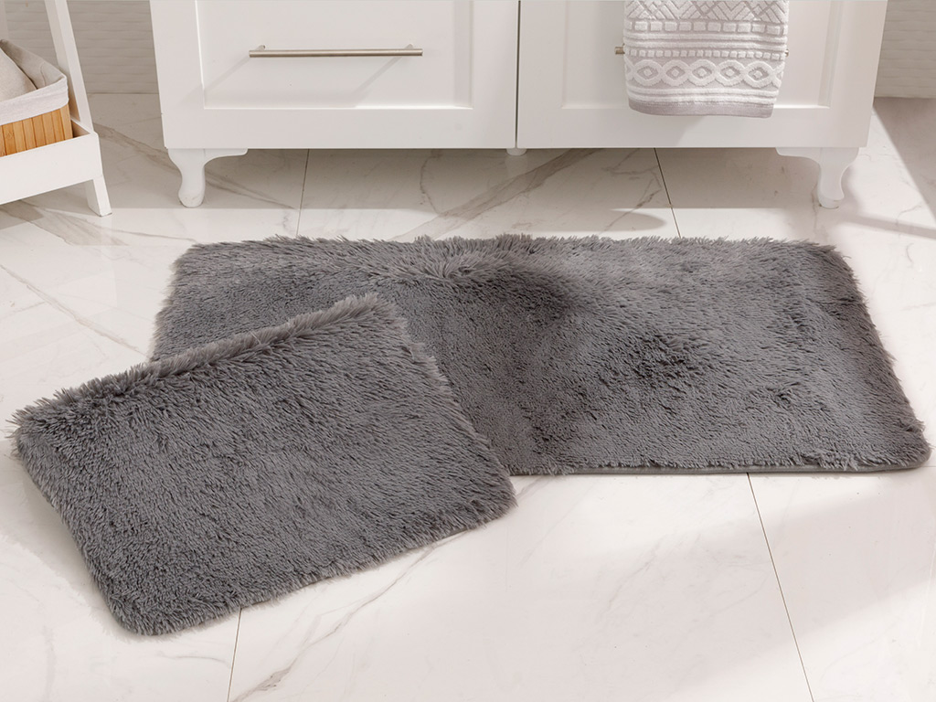 Furry Bath Mat Set 60x100 Cm+60x50 Cm Dark Gray
