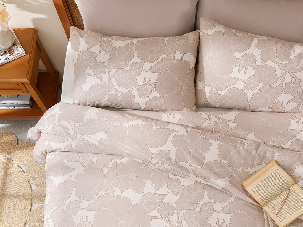Chic Magnolia Cotton Duvet Cover Full Set Single Size 160x220 Cm Beige