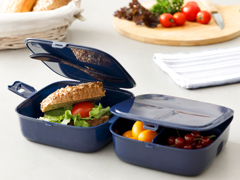 Rita Plastic Lunch Box 13,0x13,0x9,5 Cm Navy Blue