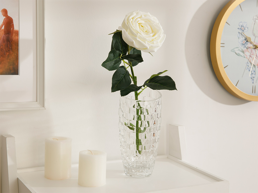 Adverse Fabric Artificial Flower 62 Cm White