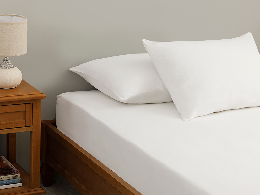 Plain Fitted Bed Sheet Set Double Size 160x200 cm White
