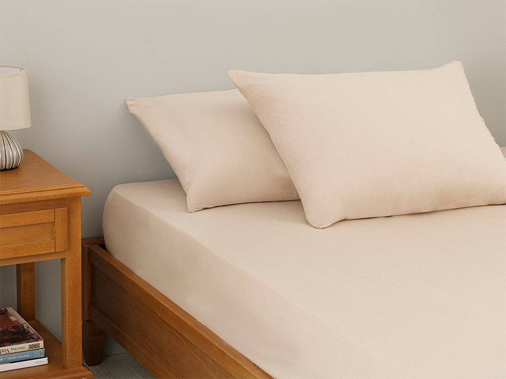 Plain Fitted Bed Sheet Set Double Size 160x200 Cm Light Beige