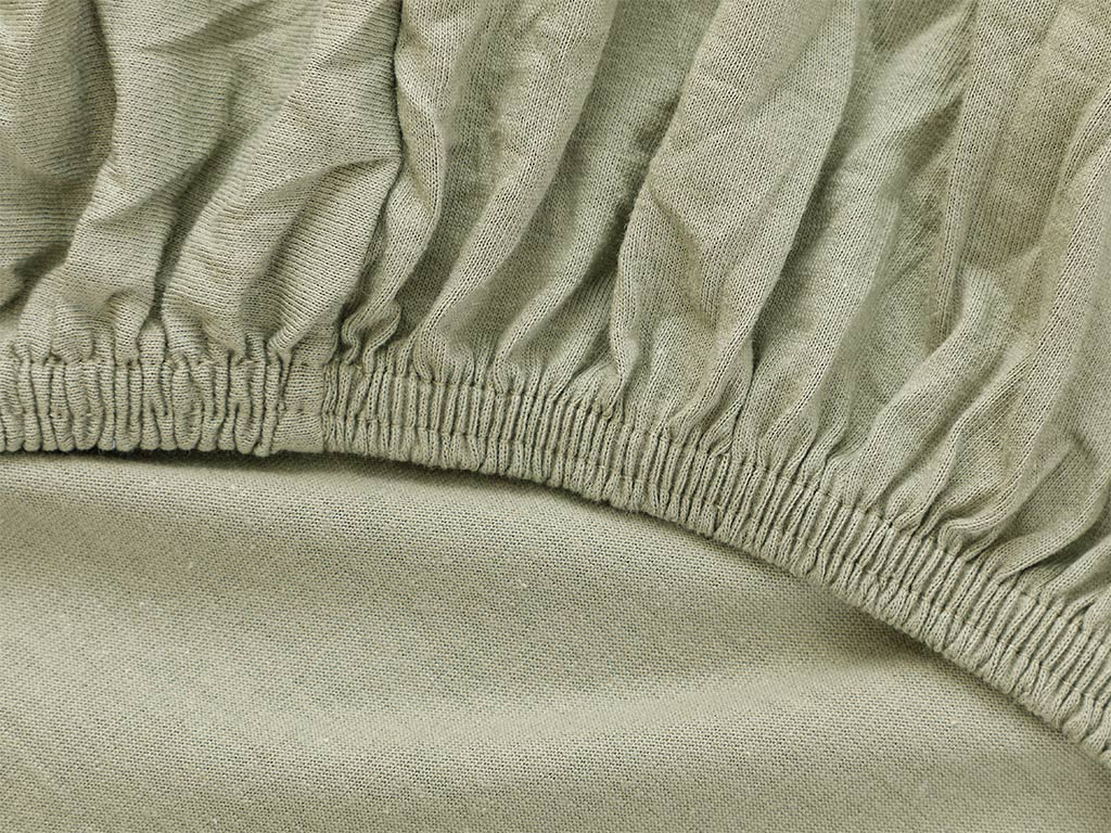 Plain Fitted Bed Sheet Set Double Size 160x200 Cm Sage Green