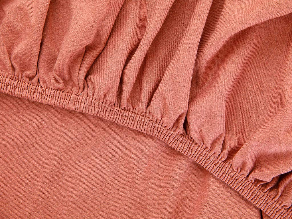 Plain Fitted Bed Sheet Set Double Size 160x200 Cm Cinnamon