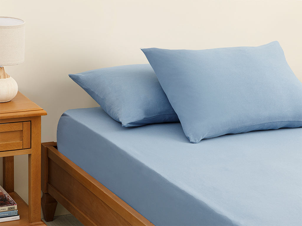 Plain Fitted Bed Sheet Set Double Size 160x200 Cm Blue
