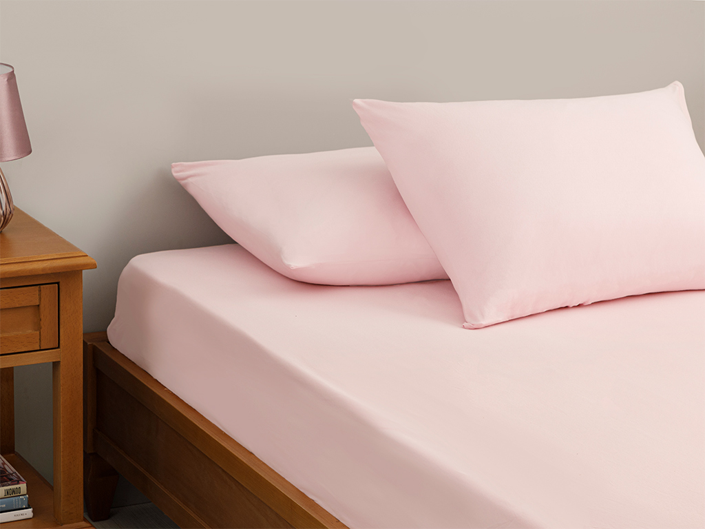 Plain Fitted Bed Sheet Set Single Size 100x200 Cm Pink