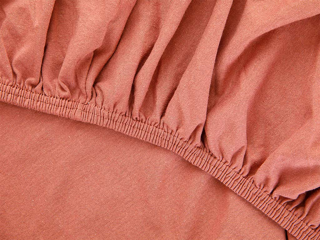 Plain Fitted Bed Sheet Set King Size 180x200 Cm Cinnamon