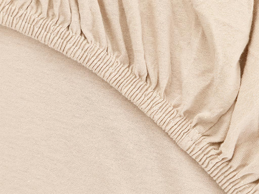 Plain Fitted Bed Sheet Set Single Size 100x200 Cm Light Beige