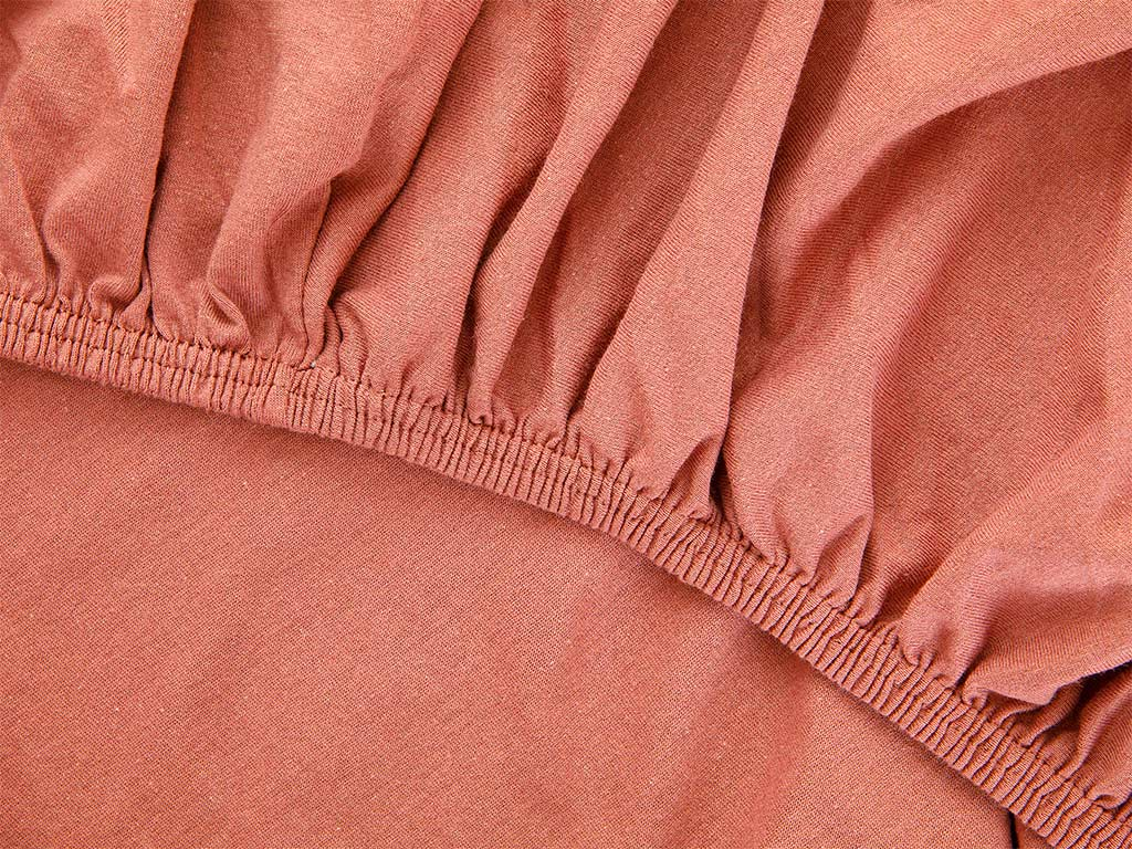 Plain Fitted Bed Sheet Set Single Size 100x200 Cm Cinnamon