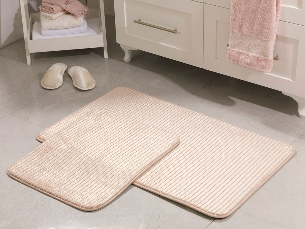 Glow Flanel Bath Mat Set 60x100 Cm - 60x50 Cm Powder