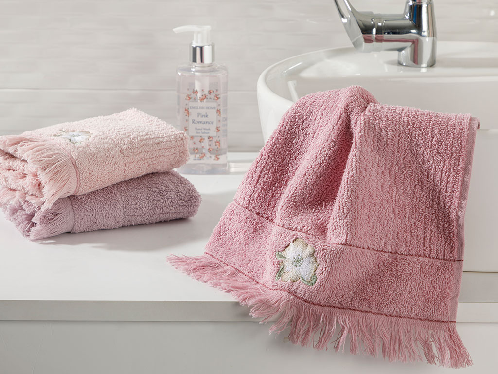 Wild Rose Embroidered Hand Towel 30x45 Cm Pink