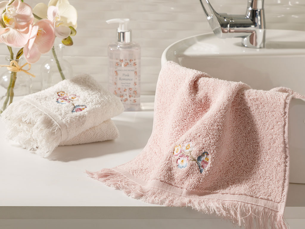 Urban Floral Embroidered Hand Towel 30x45 Cm Powder Pink