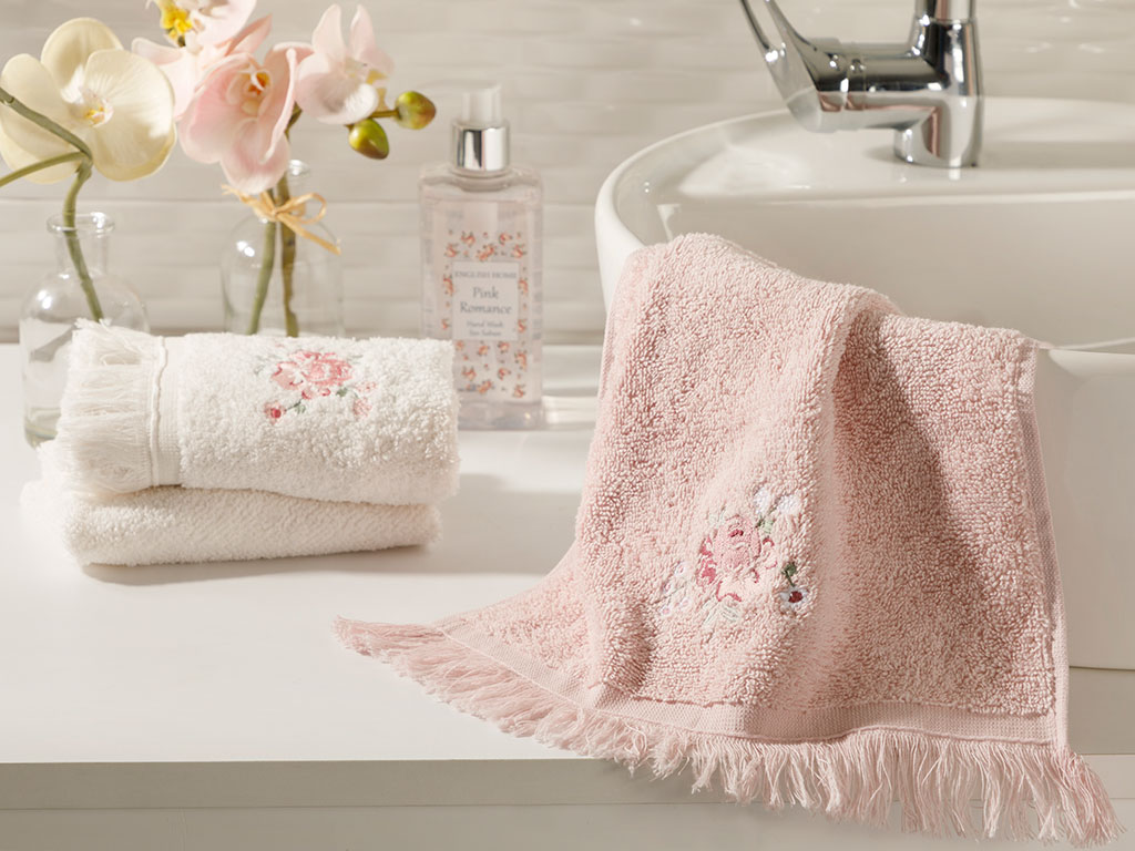 Rose Bright Embroidered Hand Towel 30x45 Cm Powder Pink