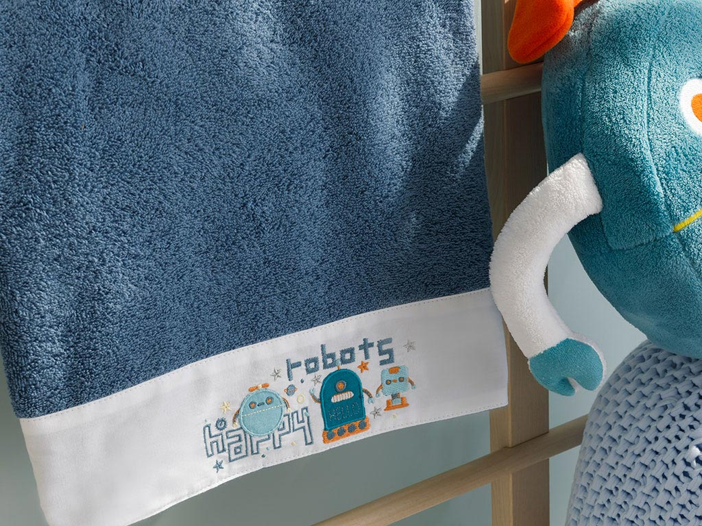 Happy Robots Cotton Baby Bath Towel 70x130 Cm Indigo