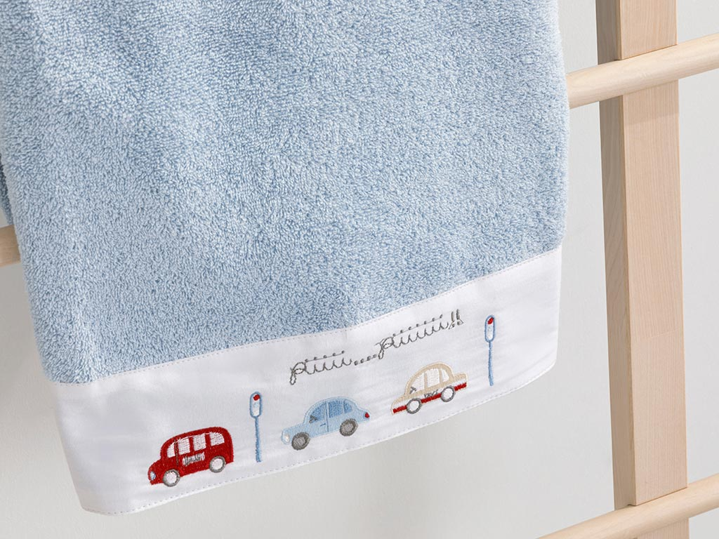 Mini Cars Cotton Baby Bath Towel 70x130 Cm Blue