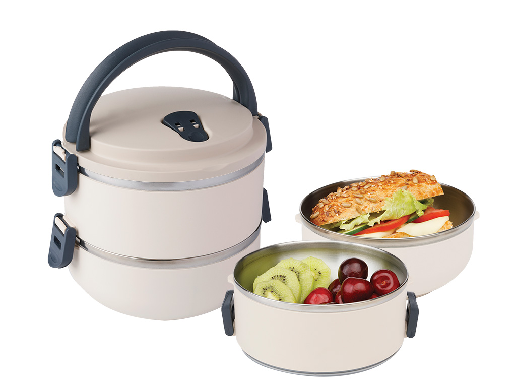 Basic Stainless Steel Leakproof Lunch Box 2 Piece 1,5 L Beige
