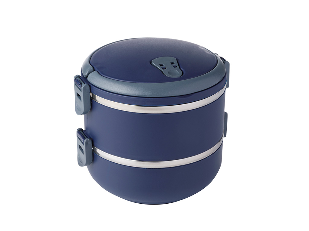 Basic Stainless Steel Leakproof Lunch Box 2 Piece 1,5 L Navy Blue