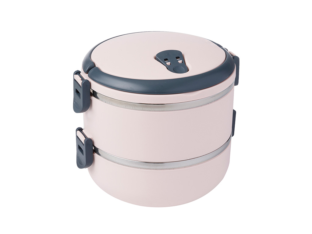 Basic Stainless Steel Leakproof Lunch Box 2 Piece 1,5 L Powder