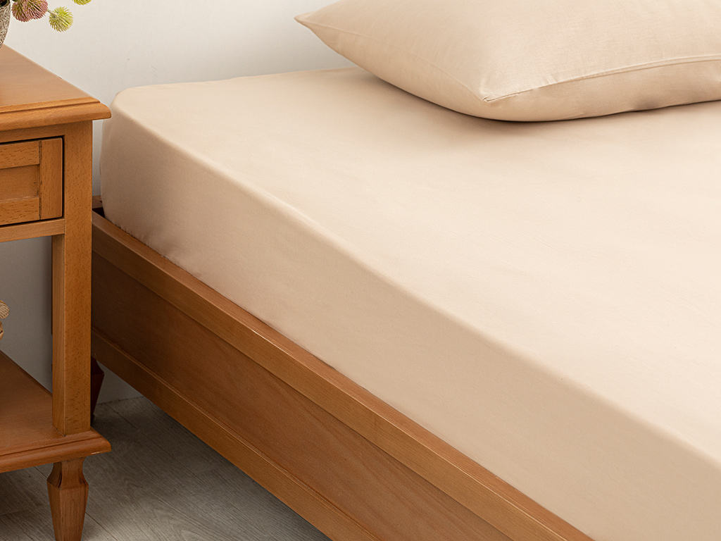 Plain Cotton Fitted Bed Sheet King Size 200x200 Cm Beige