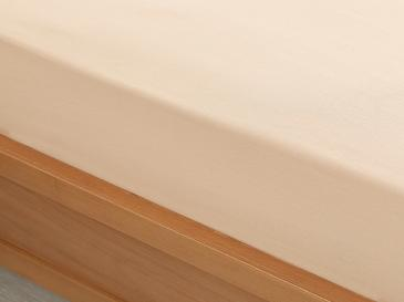 Plain Cotton Fitted Bed Sheet Single Size 100x200 Cm Beige