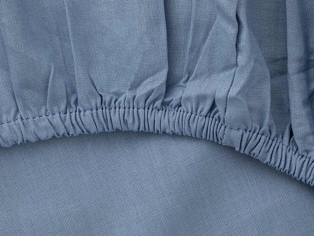 Plain Cotton Fitted Bed Sheet Single Size 100x200 Cm Blue