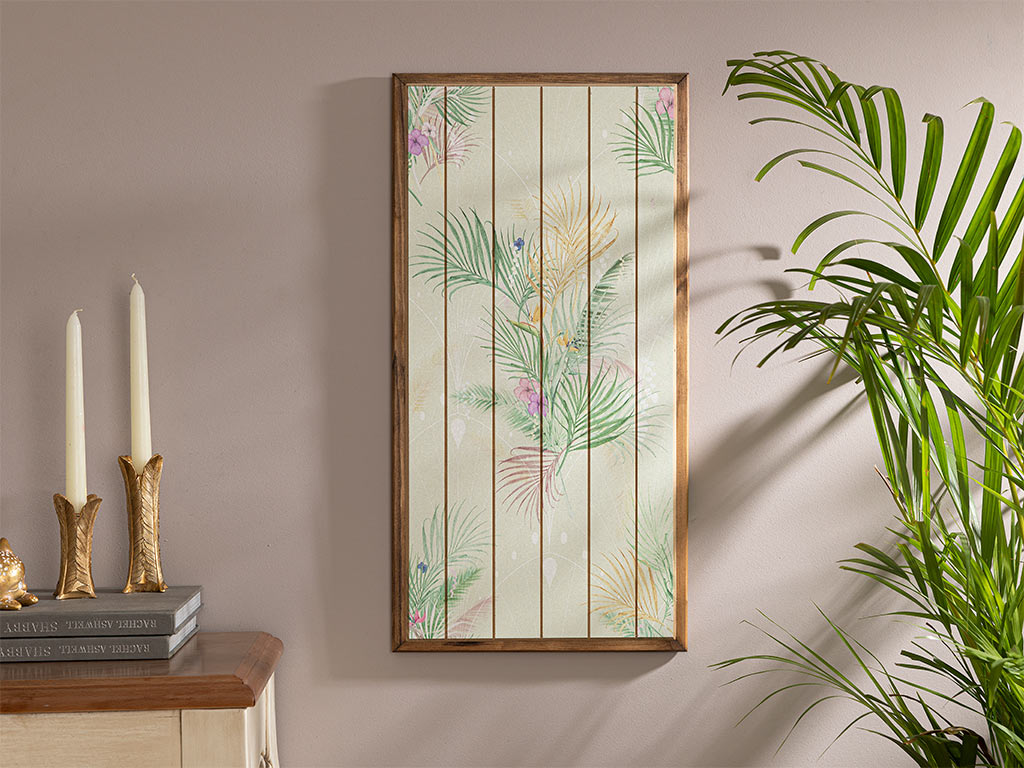 Blooming Beauty Wooden Painting 30x60 Cm Light Green