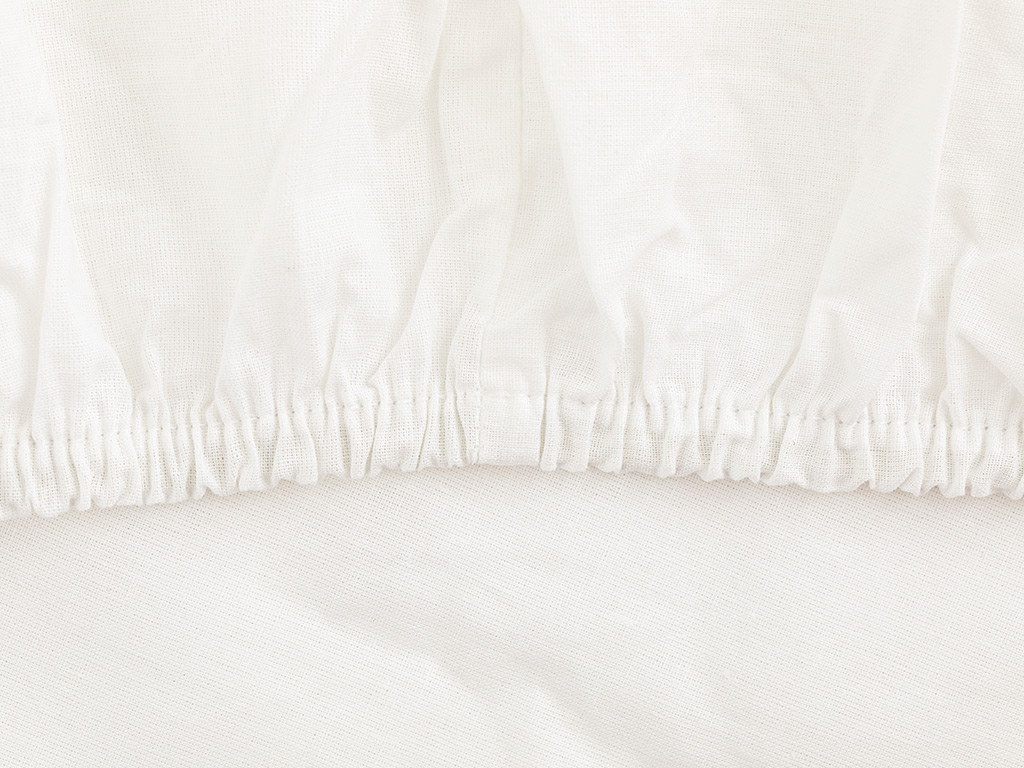 Plain 2 Cotton Fitted Bed Sheet Double Size 180x200 Cm White