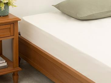 Plain 2 Cotton Single Size Fitted Bed Sheet 100x200 Cm Off White