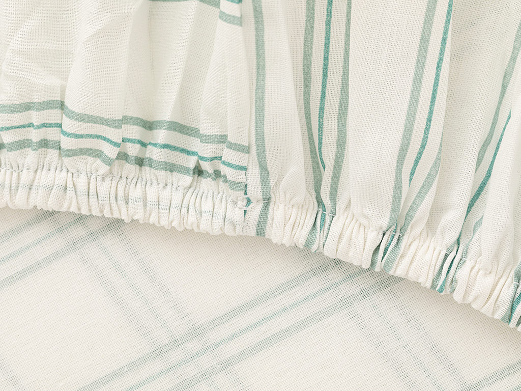 Summer Stripe Cotton Fitted Bed Sheet King Size 180x200 Cm Seledon