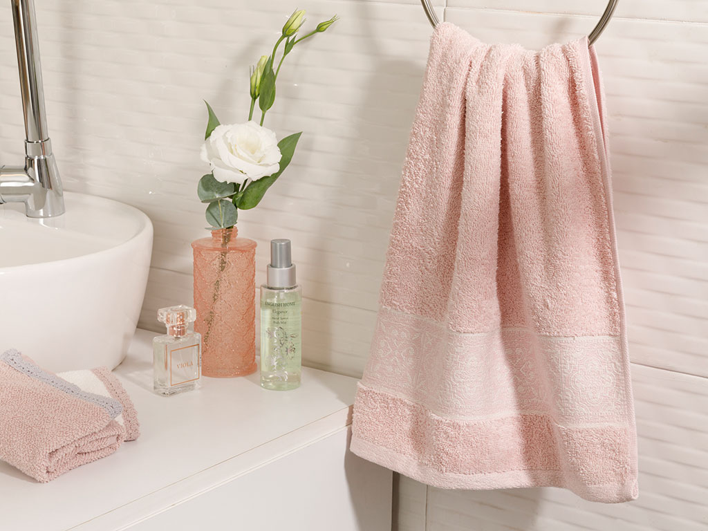 Tiles Jacquard Face Towel 50x80 Cm Powder Pink