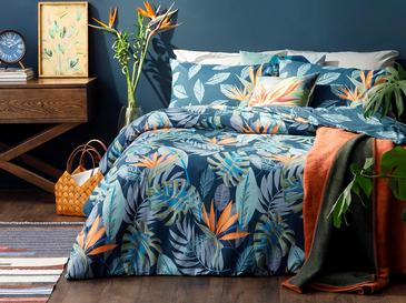 Paradise Flowers Cotton Duvet Cover Set Single Size 160x220 Cm Navy Blue