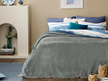 Plain Cottony For One Person Blanket 150x200 Cm Gray - Navy Blue