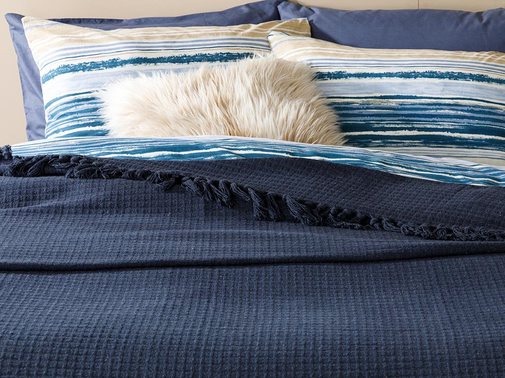 Plaid Cotton Bedspread Double Size 240x260 Cm Navy Blue