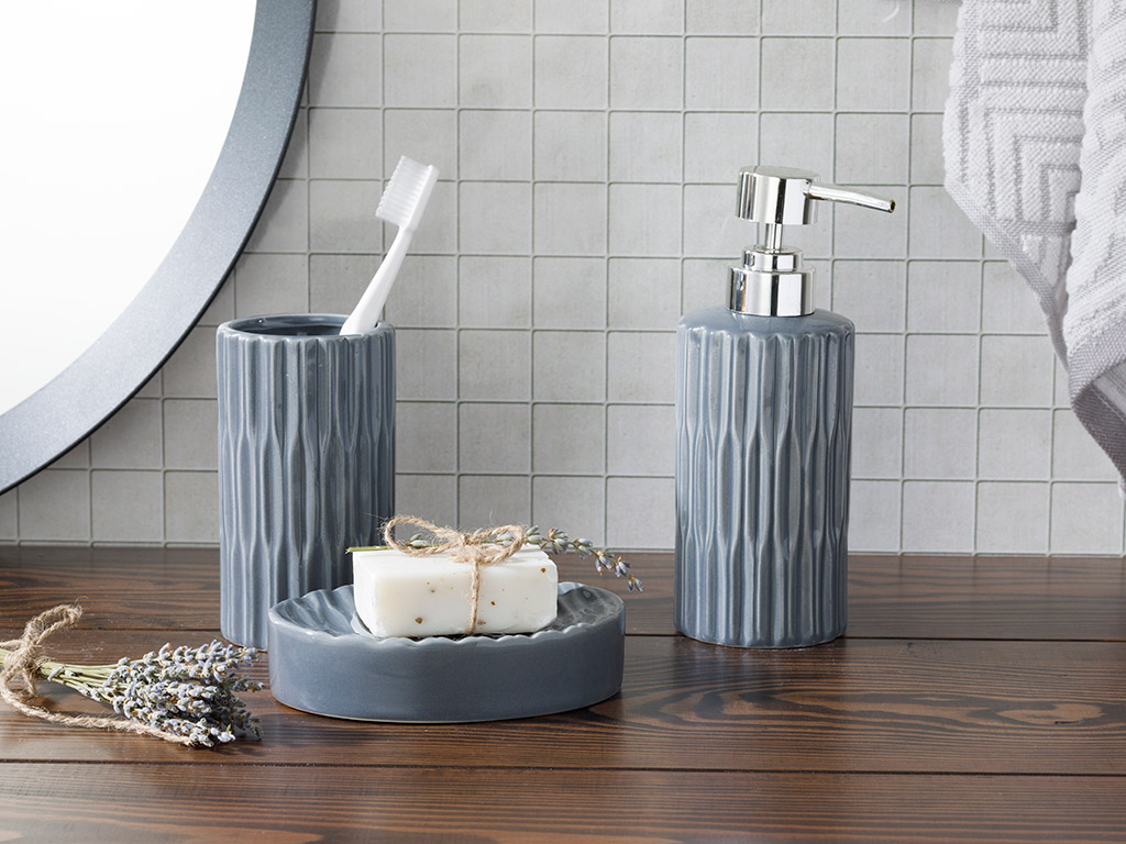 Pure Ceramic Bathroom Set 3 Piece 17,5x11,9x12,5 Cm Anthracite