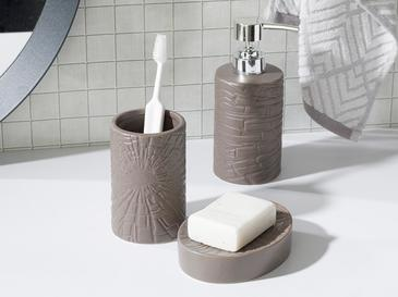 Marble Ceramic Bathroom Set 3 Piece 16,5x10,8x12,4 Cm Dark Beige