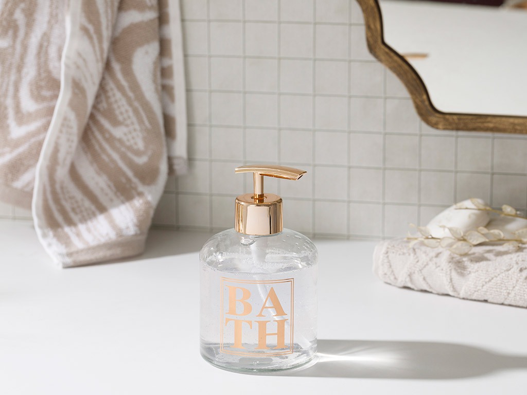 Casa Glass Bathroom Liquid Soap Dispenser 8x14 Cm Rose Gold