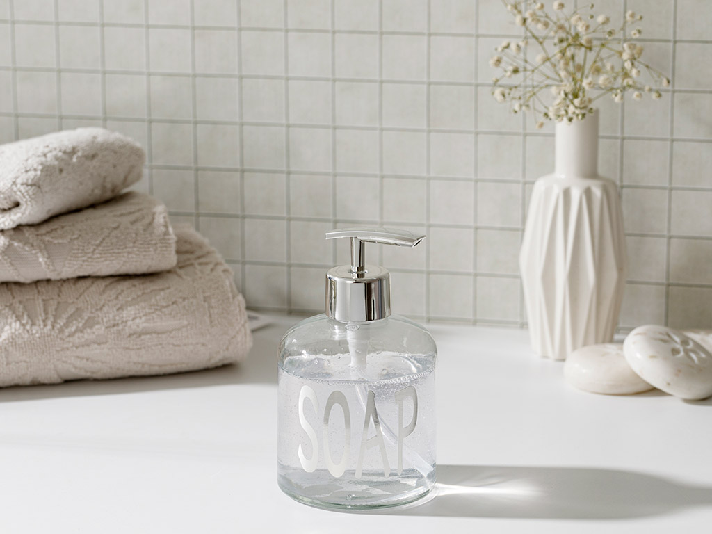 Elsa Glass Bathroom Liquid Soap Dispenser 8x14 Cm Silver