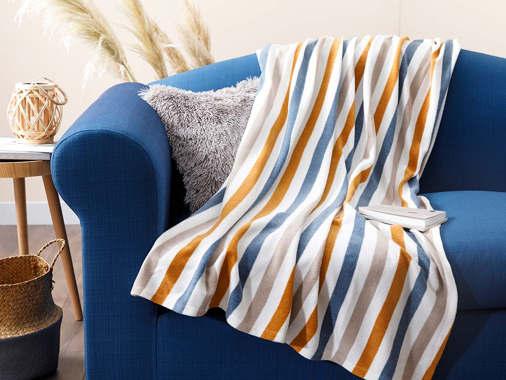 Stripe Fleece Tv Blanket 120x170 Cm Mustard